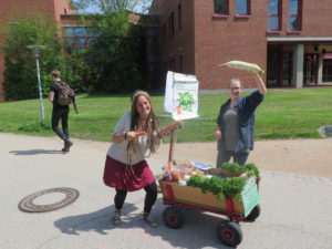 Der foodsharing Bollerwagen mit geretteten Lebensmitteln
